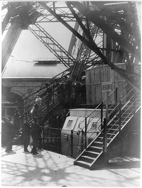 Paris Exposition; steps to the first stage of the Eiffel Tower, Paris Exhibition 1889