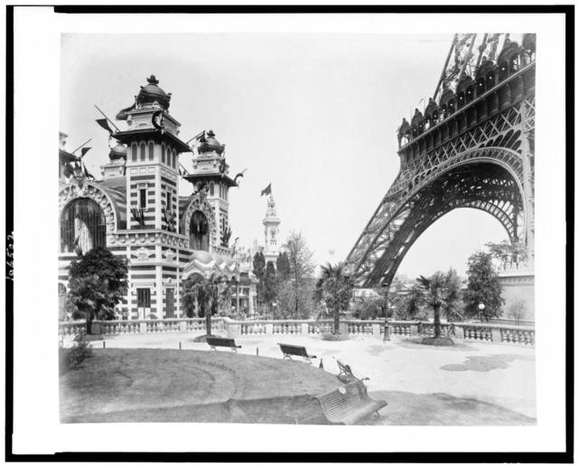 [Pavilion of Bolivia at left, and, at right, a section of the Eiffel Tower, Paris Exposition, 1889]
