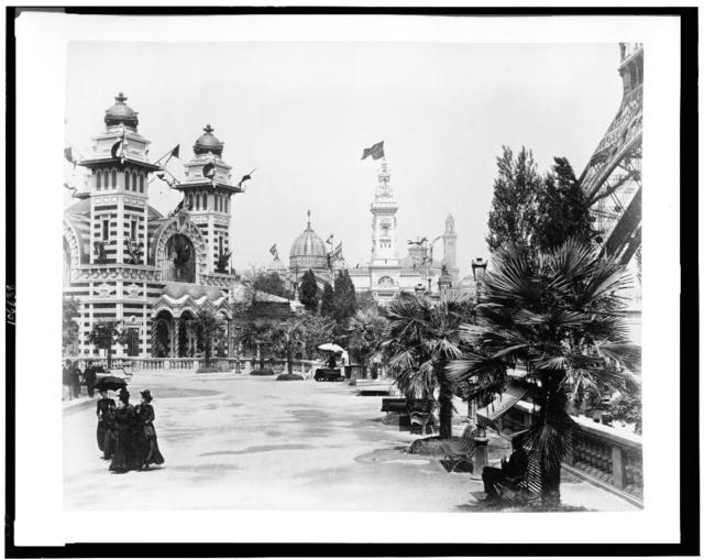 [Pavilion of Bolivia, left, and the Pavilion of Brazil, center, Paris Exposition, 1889]
