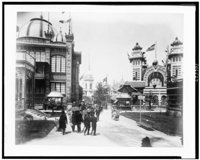 [Pavilion of Chile, left, and Pavilion of Bolivia, right, Paris Exposition, 1889]