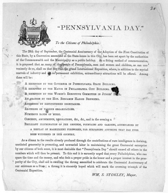 """Pennsylvania day."" To the citizens of Philadelphia. The 28th day of September, the Centennial anniversary of the adoption of the first convention assembled at the State-House in this City, has been set apart by the authorities of the Commonweal"