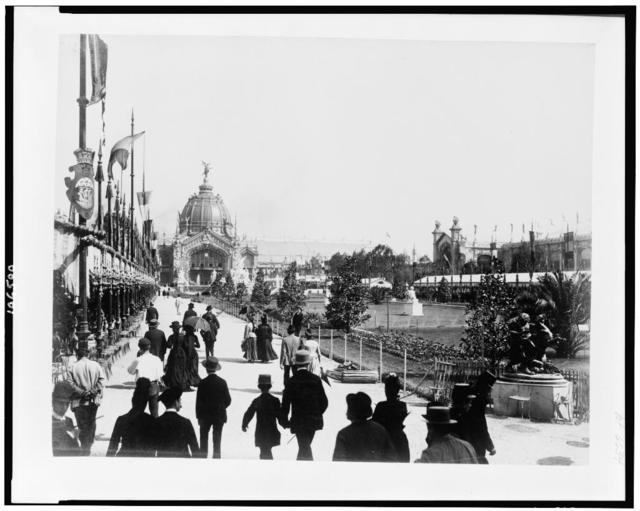 [People strolling along parterre, with the Central Dome in the background, Paris Exposition, 1889]