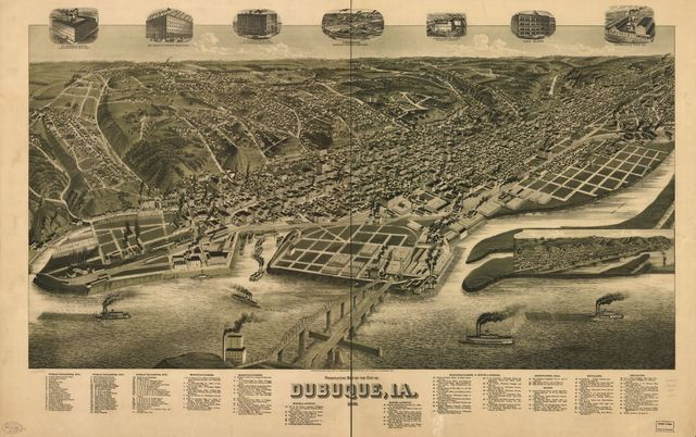 Perspective map of the city of Dubuque, Ia. 1889.