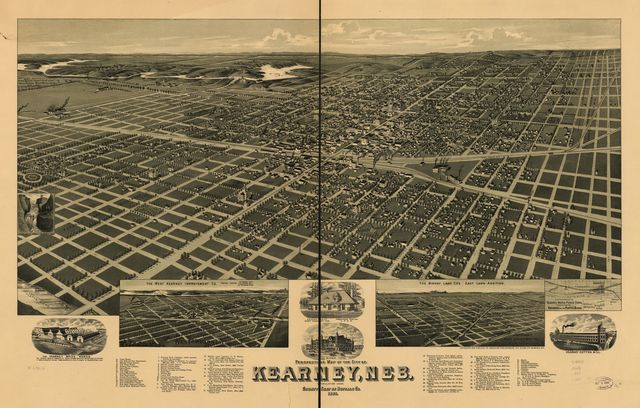Perspective map of the city of Kearney, Neb. county seat of Buffalo Co. 1889.