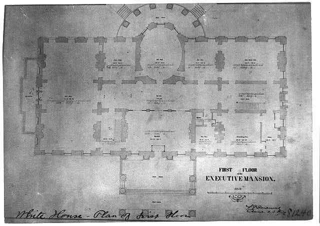 Plan of first floor of the Executive Mansion