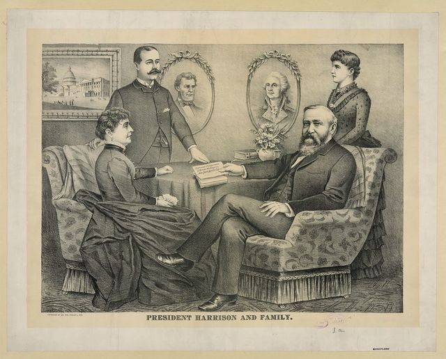 President Harrison and family