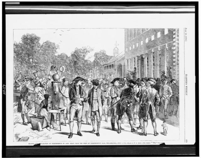 Reading the Declaration of Independence by John Nixon, from the steps of Independence Hall, Philadelphia, July 8, 1776 / drawn by E.A. Abbey.