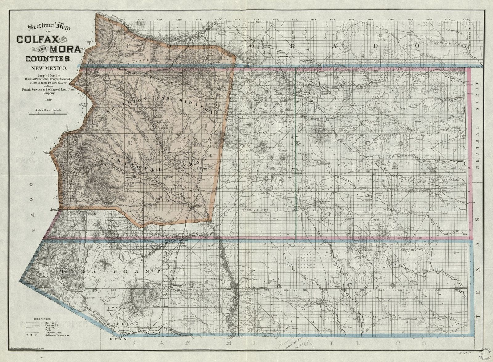 Colfax Wisconsin Map.Sectional Map Of Colfax And Mora Counties New Mexico Picryl