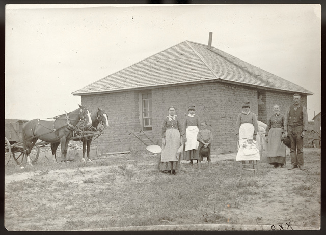 Sod house partially identified by Mr. Shafer as the house of Jasper Wallace, an old timer, located northwest of West Union