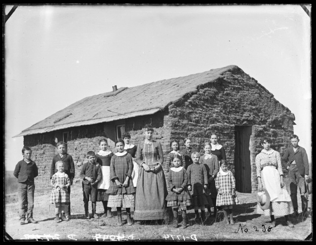 Sod school, District 62, 2 miles west of Merna,  Custer County, Nebraska.