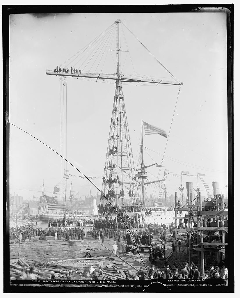 Spectators on day of launching of U.S.S. Maine