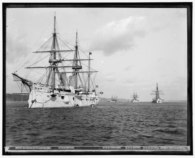 Squadron of Evolution, 1889 : U.S.S. Chicago, U.S.S. Yorktown, U.S.S. Boston, U.S.S. Atlanta