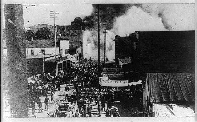 Start of Seattle fire, June 6, 1889, cor. First and Madison