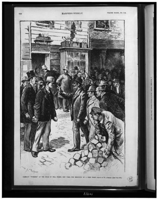 "Tammany ""workers"" at the polls in Pell Street, New York - the beginning of a free fight / W.A. Rogers."