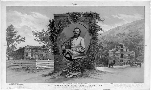 The above is a true picture of Stonewall Jackson and his boyhood home, situated on the West Fork River, Lewis Co., W. Va. / The Henderson-Achert Lith. Co. Cin. O.
