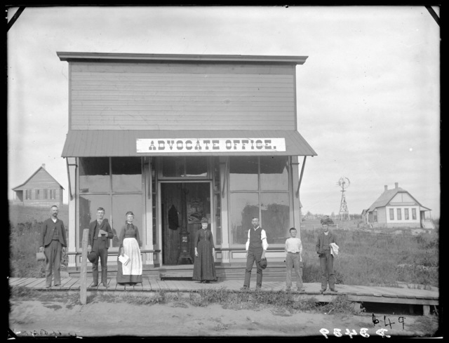 The Advocate newspaper offices in Ansley, Custer County, Nebraska.