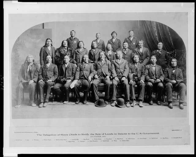 The delegation of Sioux chiefs to ratify the sale of lands in South Dakota to the U.S. government, December, 1889 / photographed and copyrighted by C.M. Bell, Washington, D.C.