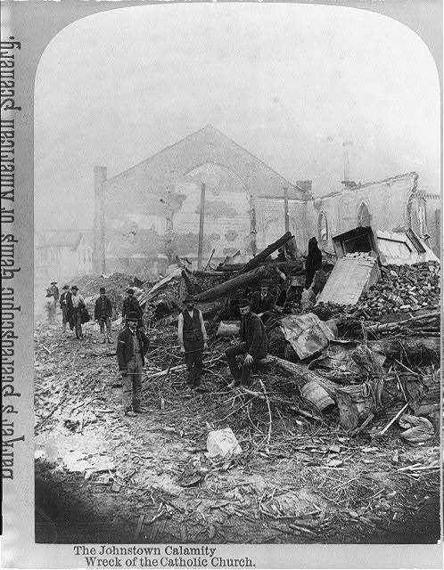 The Johnstown Calamity [Johnstown, Pa. Flood, 1889]: Wreck of the Catholic Church