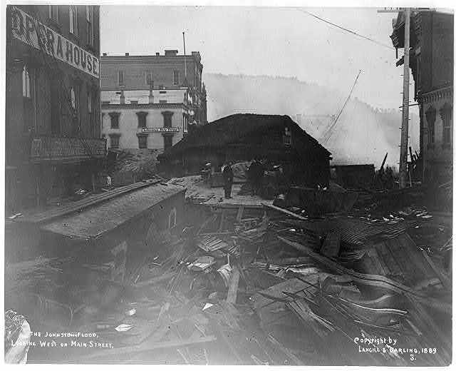 The Johnstown flood, looking west on Main Street