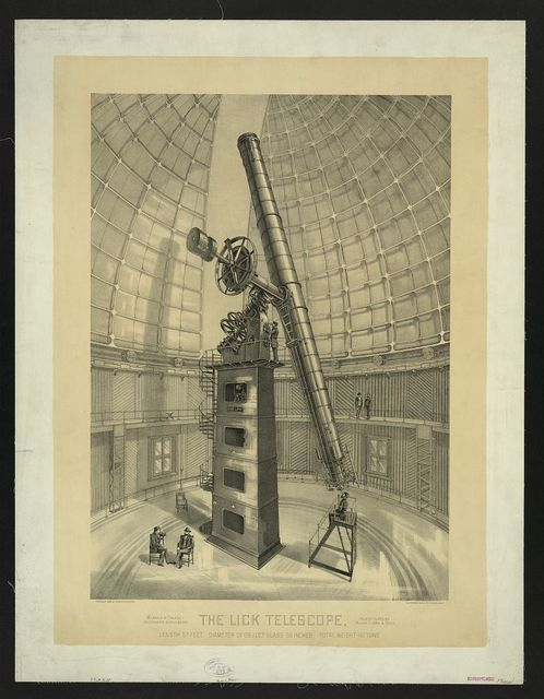 The Lick telescope, length 57 feet, diameter of object glass 36 inches, total weight 40 tons / W.J. Morgan & Co. Lith. Cleveland, O.