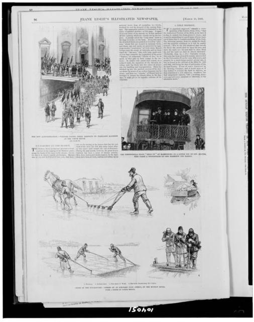 """The New administration--visitors paying their respects to President Harrison at the White House. The presidential train """"held up"""" at Harrisburg by a little son of Gov. Beaver, who takes a photograph of Gen. Harrison and family. Close of the ice-harvest--scenes on an ice-farm near Athens, on the Hudson River / from a sketch by Joseph Becker."""