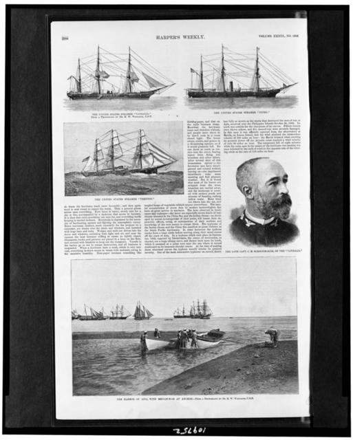 """The United States steamer """"Vandalia"""" The United States steamer """"Nipsic"""" ; The United States steamer """"Trenton"""" ; The late Capt. C.M. Schoonmaker, of the """"Vandalia"""" ; The harbor of Apia, with men-of-war at anchor / / from a photograph by Dr. H.W. Whitaker, U.S.N."""