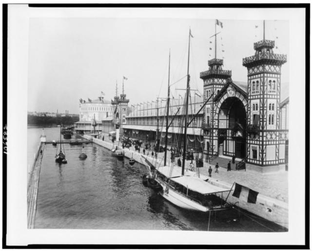 [Transatlantic Panorama Pavilion, the Palace of the French Navy and the Life-saving Apparatus and Navigation exhibitions, along Seine waterfront, Paris Exposition, 1889]