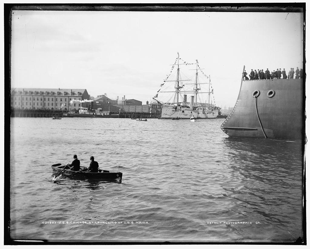 U.S.S. Chicago at launching of U.S.S. Maine