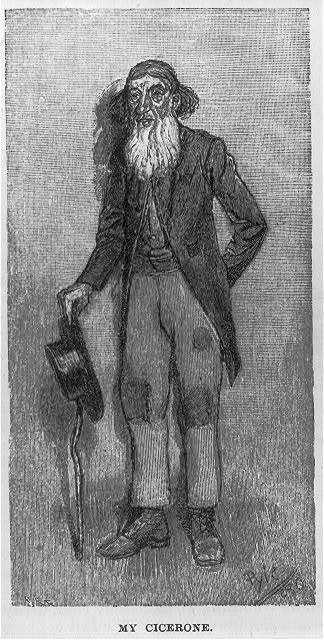 """[Wood engraving from drawing by Howard Pyle which illustrated his article, """"A Peculiar People,"""" in Harper's New Monthly, Oct. 1889, pp. 776-785, Dunker religion in Pennsylvania: Old man who acts as """"cicerone"""", or guide]"""