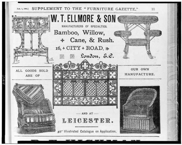 W.T. Ellmore & Son, manufacturers of specialties.  Bamboo, willow, cane, & rush, London, E.C. and at Leicester