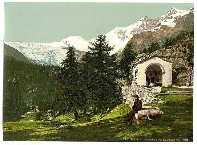 [A chapel near Saas Fee, Valais, Alps, of, Switzerland]