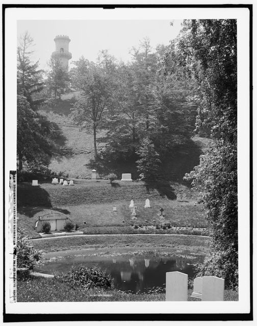 A Glimpse of the tower, Mt. Auburn Cemetery, Cambridge, Mass.