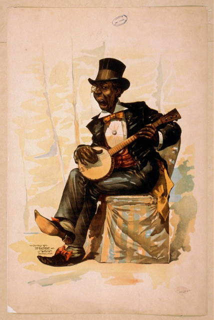 [African American in tuxedo and top hat, seated, playing banjo]