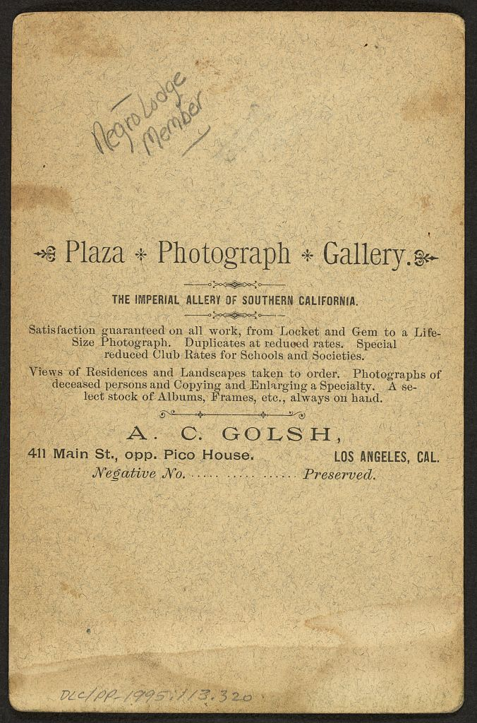 [African American man wearing fraternal order collar and apron] / A.C. Golsh, 411 Main St., opp. Pico House, Los Angeles, Cal.