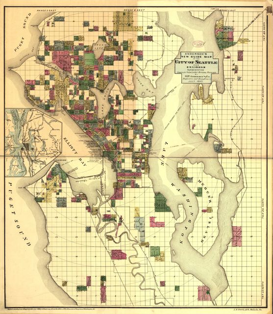 Anderson's new guide map of the city of Seattle and environs, Washington.