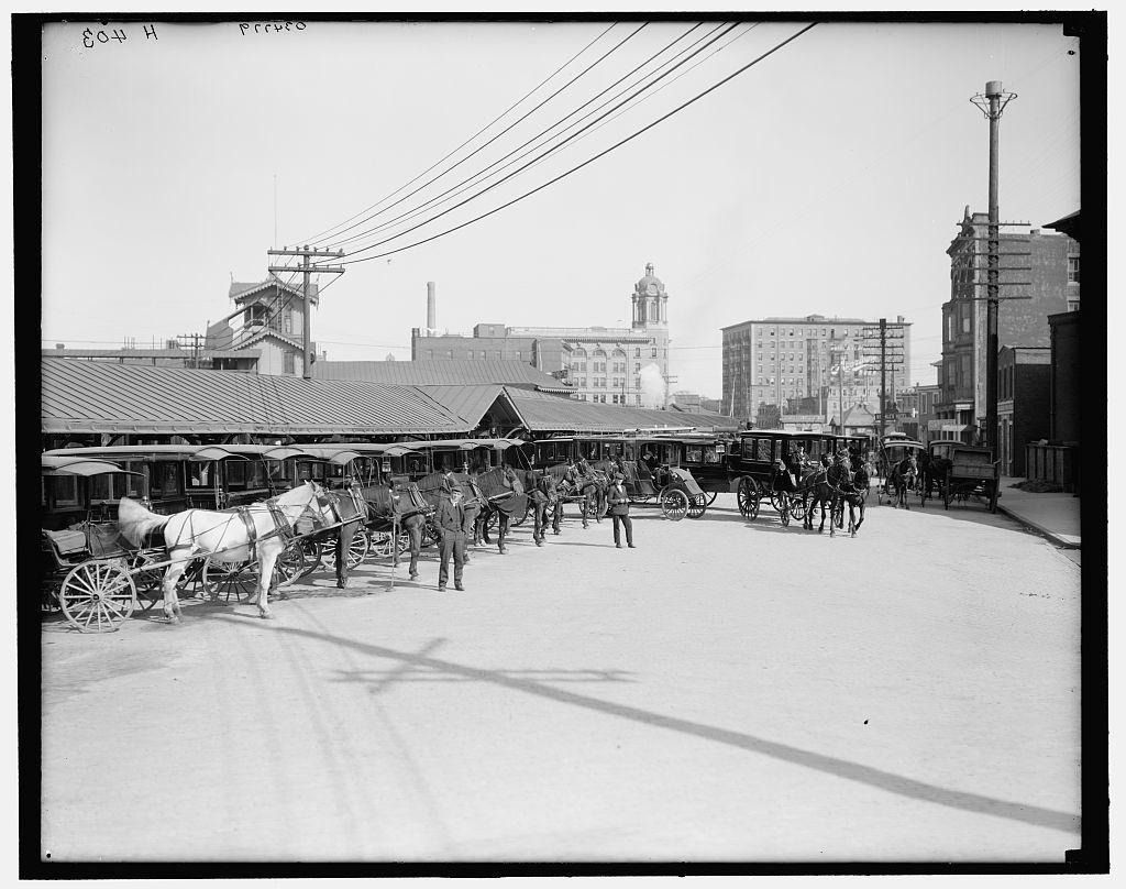 [Atlantic City, N.J., hotel busses at P.R. depot]