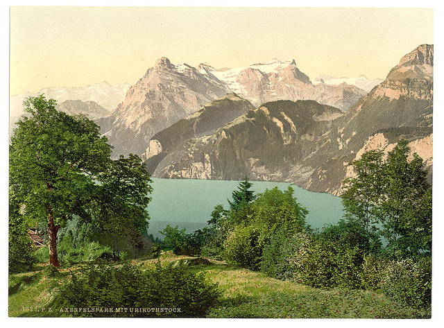 [Axenstein, Park and Urirothstock, (i.e., Urirotstock), Lake Lucerne, Switzerland]