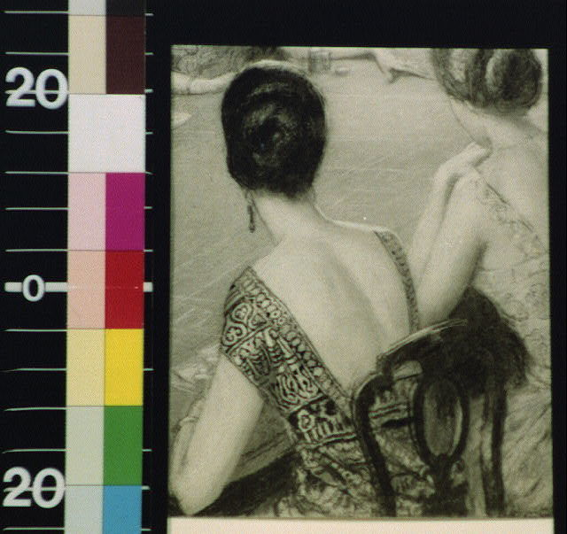 [Backs of two women in evening dress at gambling table]