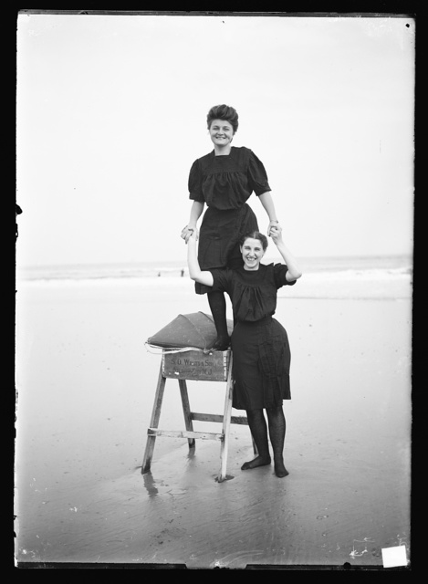 [Bathing beauties playing on sawhorse, Atlantic City, N.J.]