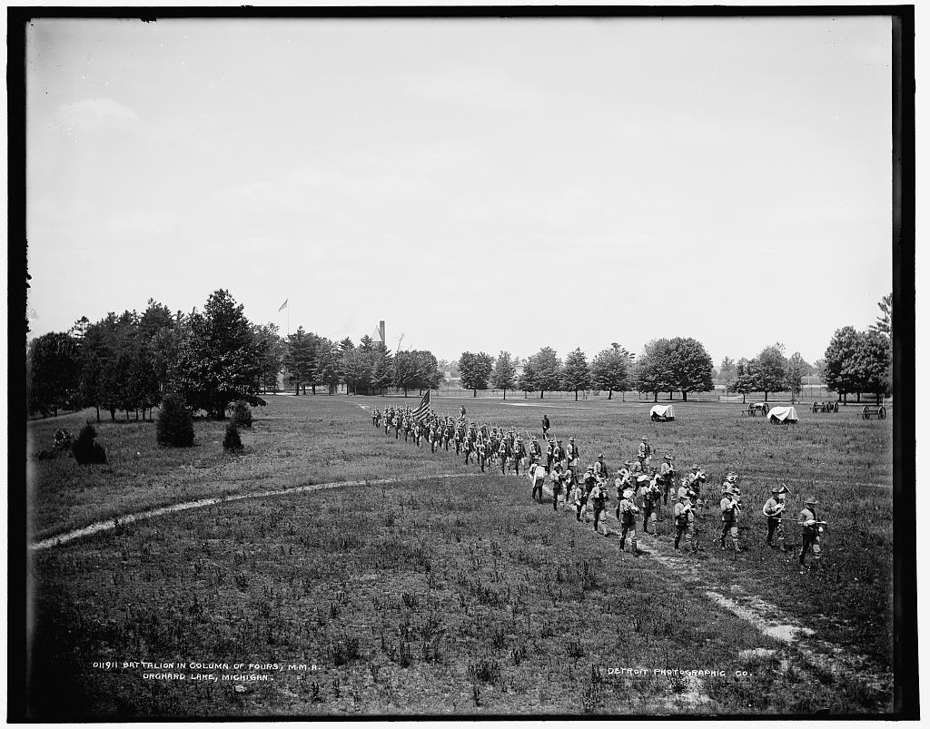Battalion in column of fours, M.M.A., Orchard Lake, Michigan