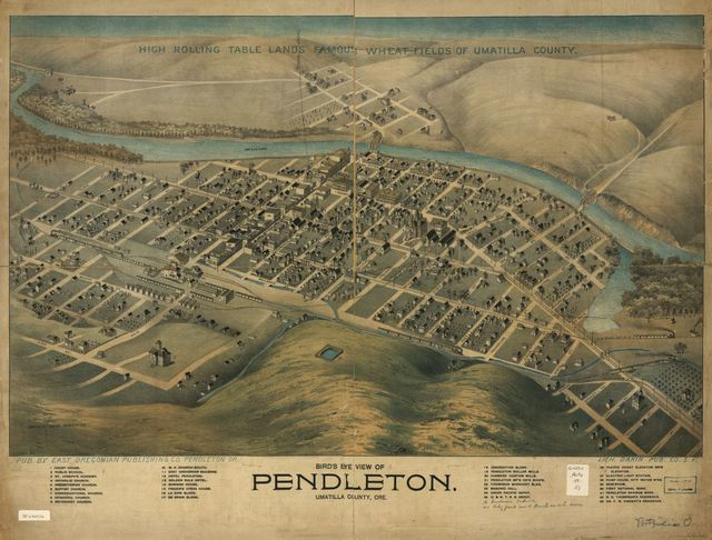 Bird's eye view of Pendleton, Umatilla County, Ore.