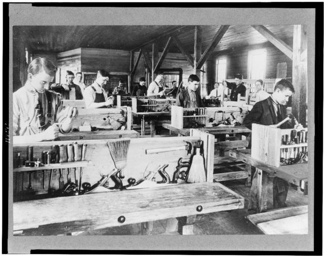 [Boys working in carpenter shop, at the Berry School, Mount Berry, Georgia]