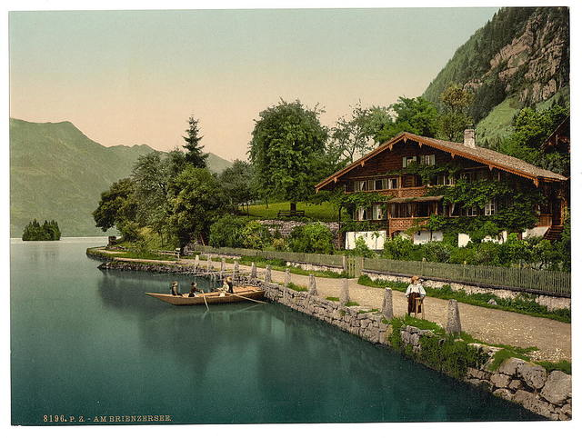 [Brienz Lake, chalet on the lake, Bernese Oberland, Switzerland]