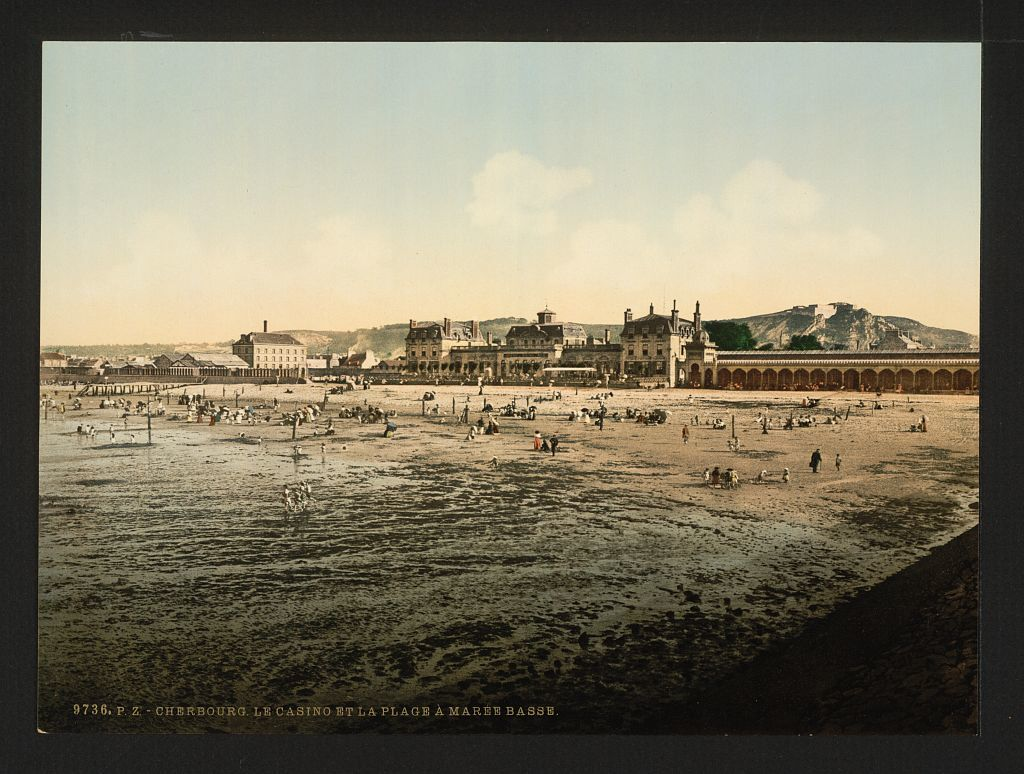 [Casino and beach at low tide, Cherbourg, France]