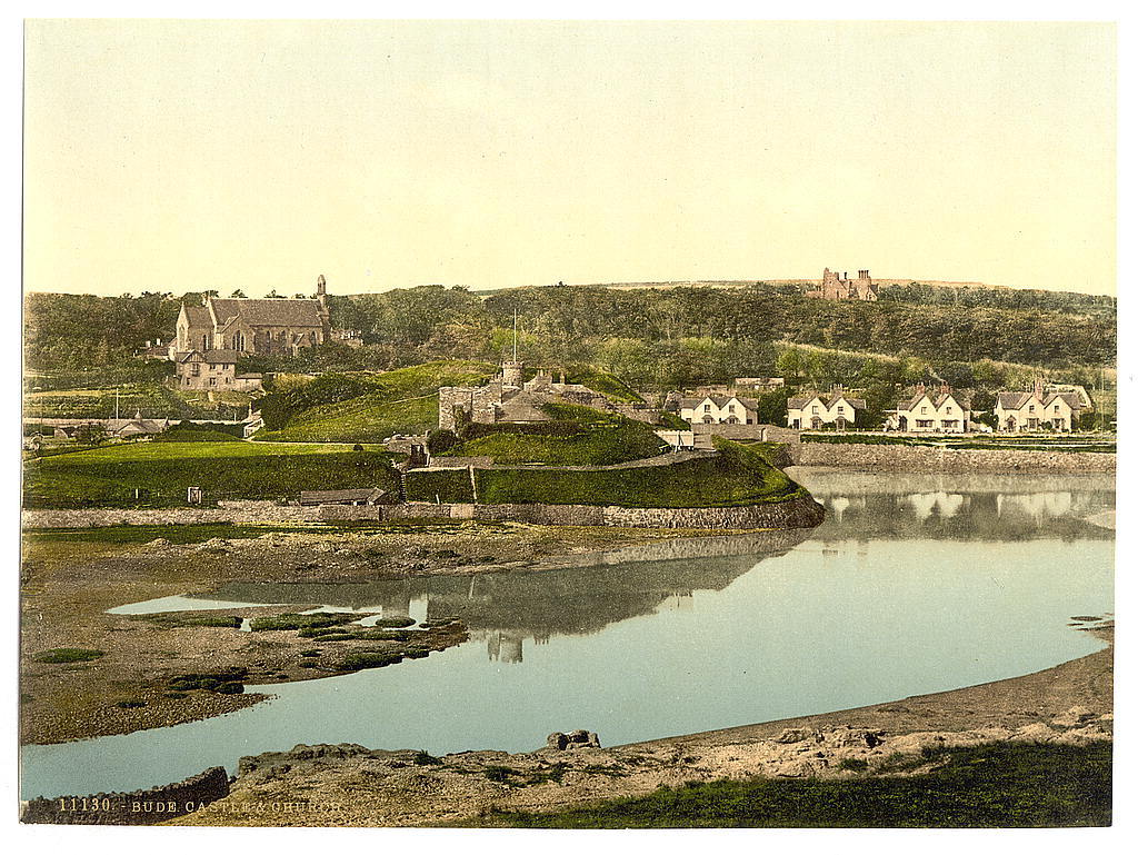 [Castle and church, Bude, Cornwall, England]