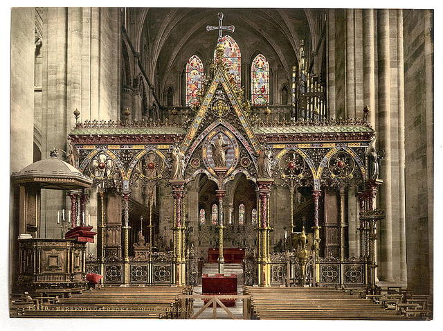 [Cathedral choir screen, Hereford, England]