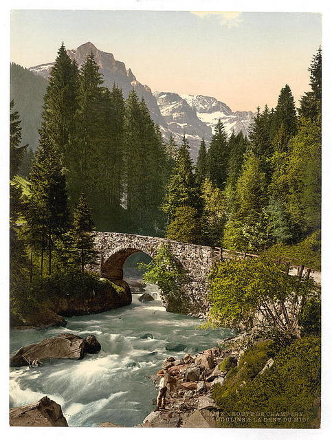 [Champéry, Moulins Bridge and Dent du Midi on the Road to Champéry, Valais, Alps of, Switzerland]