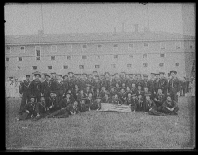 [Chicago Naval reserves discharged from U.S.S. Oregon at Charlestown Navy Yard]