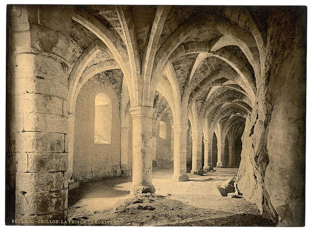 [Chillon Castle, interior, Bonivard's Prison, Geneva Lake, Switzerland]
