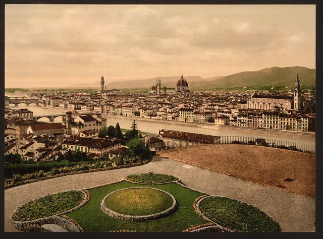 [Cityscape view looking toward cathedral, Florence, Italy]